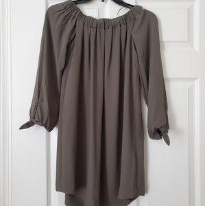 Olive green off-the-shoulder dress
